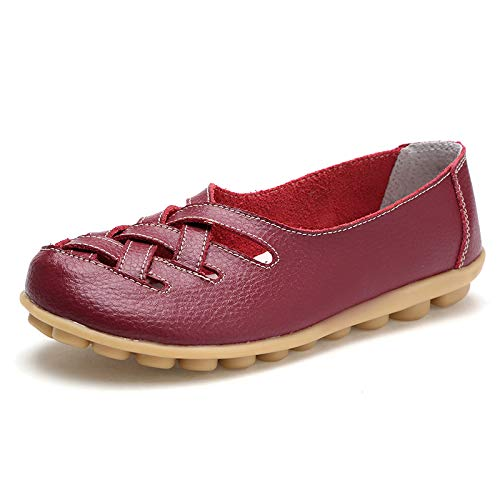 Women's Leather Loafer Casual Flat Shoes Rubber Sole Shoes (10.5 B(M) US, Burgundy/WineRed) ()