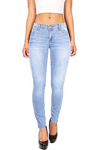 Wax+Women%27s+Juniors+Basic+Stretchy+Fit+Skinny+Jeans+%287%2C+Light%29