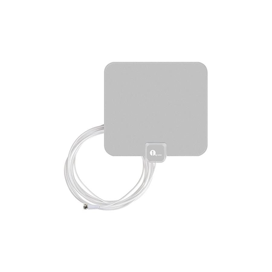1byone OUS00 0562 Amplified HDTV Antenna 50 Miles Range with USB Power Supply and 20 Feet Coaxial Cable White/Black
