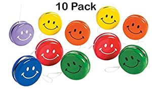 Metal Smile Face Yo-Yos 2 Inches - Pack Of 10 – Assorted Colors Happy Face Yoyos - For Kids Great Party Favors, Bag Stuffers, Fun, Toy, Gift, Prize, Piñata Fillers - By Kidsco