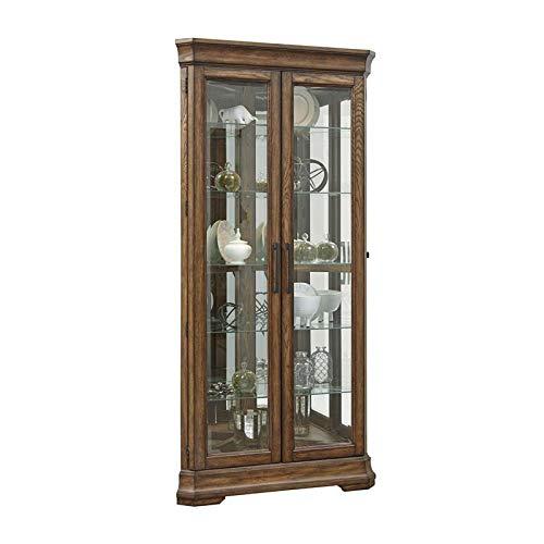 PRI Home Fare Lighted 5 Shelf Double Door Corner Curio Cabinet in Oak Brown