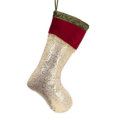 Valery Madelyn 21 Traditional Red Green Gold Fancy Christmas Stockings with Ruffle and Velvet Cuff, Themed with Tree Skirt (Not Included)