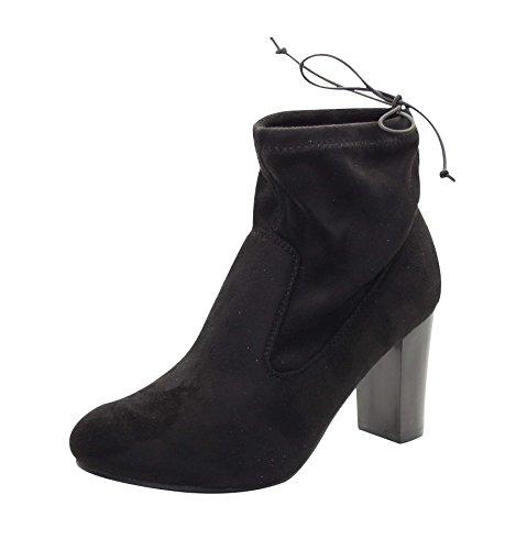 True Ladies Face Opening Heel Drawstring Block Black Ankle Boot FAFr1