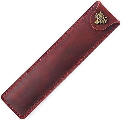 Estuche de piel para lápices, accesorios escolares y de oficina/organizador/bolsa, funda de piel para bolígrafo, funda protectora de piel Crazy Horse, color rojo vino 16.8 * 4.0 cm (L * W):