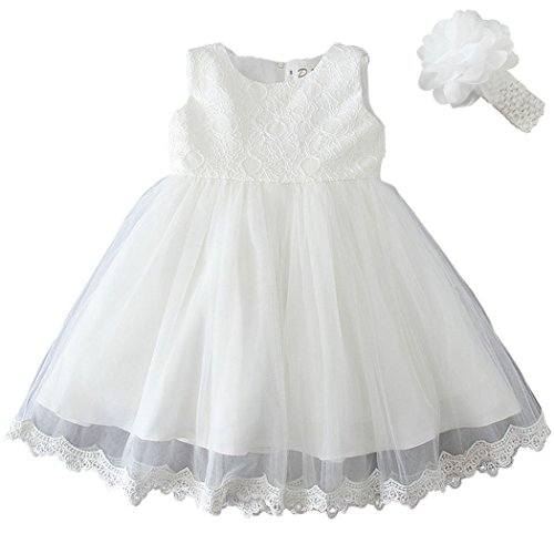 Coozy Baby Girls Dress Infant Princess Christening Baptism Party Birthday Formal Dress (Ivory (Style 3), 6M/6-12months)