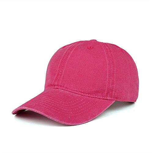 WINCAN Vintage Washed Dyed Cotton Twill Low Profile Adjustable Baseball Cap Denim 6 Panel Stitch Baseball Hat (Rose Red)
