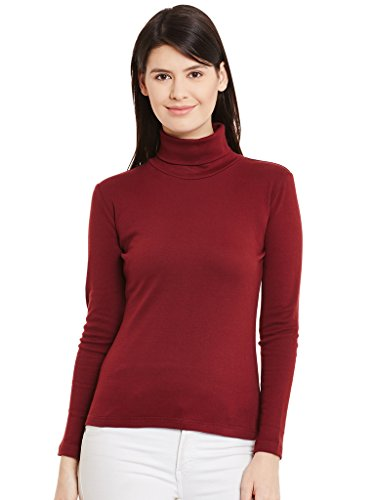 HYPERNATION Maroon Color High Neck Cotton T-Shirt for Women