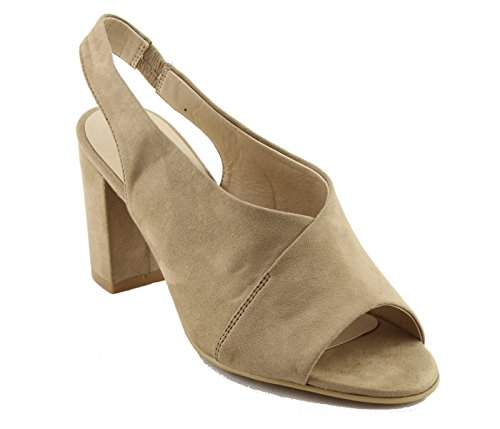 Nature Breeze Fg73 Da Donna Slip On Chunky Sandalo Con Tacco A Mulo In Camoscio Beige