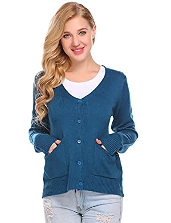 Mofavor Women's Button Back Knit Sweater Cardigan With Pocket Workout