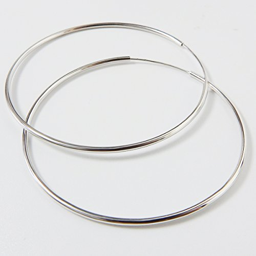 IDoy 925 Sterling Silver Hoop Earrings - Simple Polished Large Round Earrings for Women 50mm by IDoy (Image #2)'