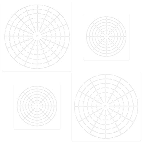 4 Pieces Mandala Dotting Stencils, QIUYE Spider Web Auxiliary Line Hollow Painting Stencils for Painting On Wood, Airbrush and Walls Art, Milky White Translucent (Mandala)