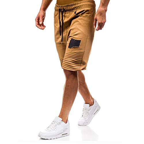 Allywit Mens Gym Drawstring Shorts Workout Training Running Shorts with Pocket Khaki by Allywit-Pants (Image #2)