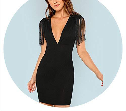 Black Solid Deep V Neck Fringe Embellished Sexy Dress Tassel Party Dress Vintage Bodycon Summer Dresses,Black,M ()