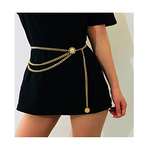 Bohemian Retro Style Multilayer Alloy Waist Chain Body Chain for Women Sun Pendant Belly Chain Waist Chain Beach Jewelry (Gold) -
