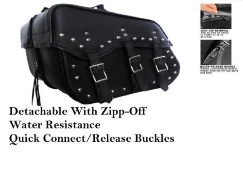 - Saddlebags harley dyna and softail zip off studded 213