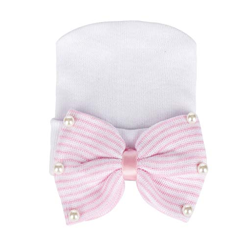 Newborn Baby Hat Pearl Bowknot Knitted Crochet Hemming Beanie Cap Photo Photography Prop Fit for 0-5 Months Baby (White)