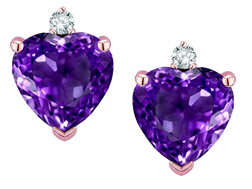 - Star K Heart Shape 7mm Genuine Amethyst Earrings Studs 14 kt Rose Gold