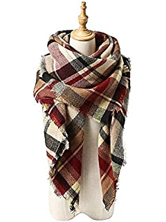 62f856332fb Zando Plaid Blanket Thick Winter Scarf Tartan Chunky Wrap Oversized Shawl  Cape