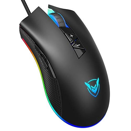 PICTEK Gaming Mouse, Newest Version 10,000 Adjustable DPI - 16 8 Million  Customizable RGB Backlit - 8 Programmable Buttons Esports Gaming Mice -