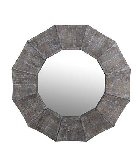 Privilege 11089 Scalloped edge reclaimed mirror. Hangs on wire loop, 35.5x2.5x35.5, Mirror: 21. by Privilege