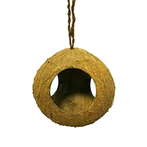OMEM Bird Coconut House,Hamster House,3 Hole Coconut Shell can hung on Bamboo, Birdcages, Hamster Cages