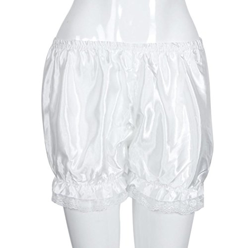 Lace Satin Bloomers (KESEE Women Elasticity Hot Pants Bloomers Summer Casual Lace Shorts Safety Pants (White))