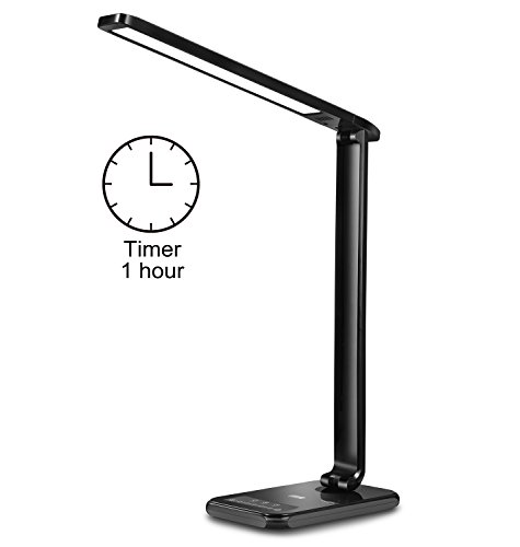 Ebyphan LED Desk Lamp with USB Charging Port, Dimmable Reading Lamp, Modern Table Lamp, 5 Color Temperatures & 7 Brightness Levels, Touch Control, Memory Function, 1 Hour Timer (Lamp Top Table)