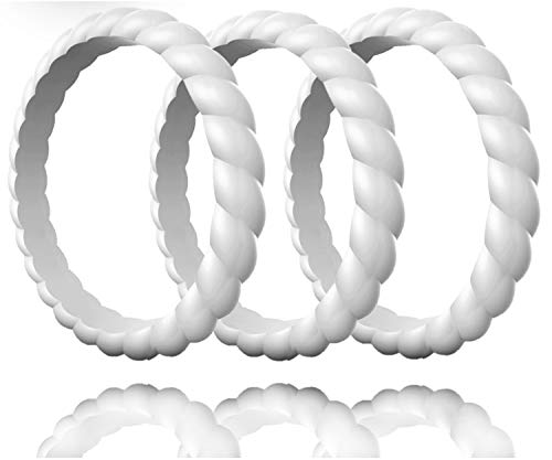 - Made for Her Stackable Silicone Wedding Rings for Women - Thin Rubber Bands for Active Sports Female - Combo Colors Pack (3 Grey, 9 (18.95mm))