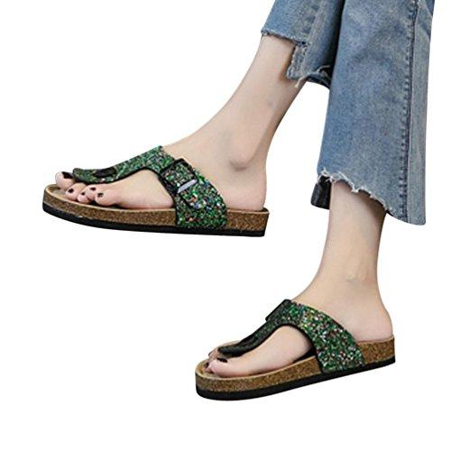 Damen Sandalen Forh Zehentrenner Riemchen Sandalen Glitzer Komfort Sandaletten Schlappen Sommer Pailletten Schuhe Hausschuhe Pantoletten Flachen Hausschuhe Grün