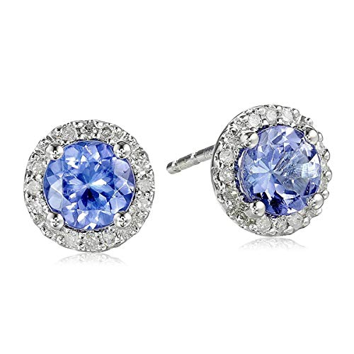 10k White Gold Tanzanite and Diamond (1/10cttw) Stud Earrings