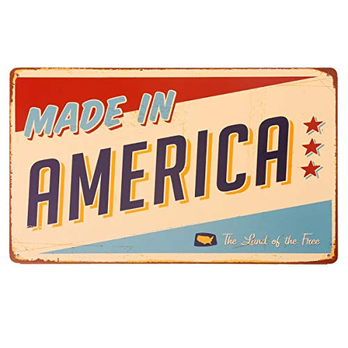 - HANTAJANSS Made in America Metal Signs Retro Vintage The Land of The Free Tin Signs 12 X 8 Inches