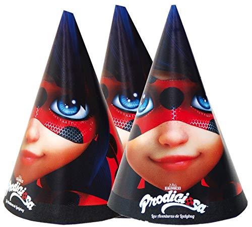 Miraculous Pack de 6 Sombreros cónicas para cumpleaños ...