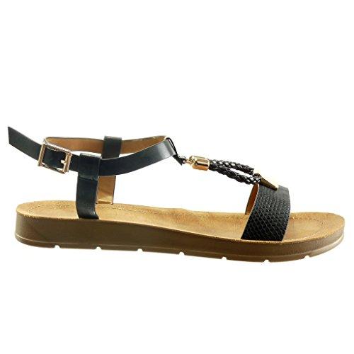 cuña de metálica Angkorly para de 2 t Piel Bar Abierto Plataforma mujer Trenzado cm serpiente Sandalias de Negro moda Zapatos Zdwaqpw