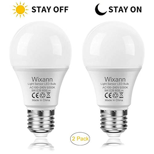 Wixann Dusk to Dawn Light Bulb, Built-in Light Sensor, Auto Stay On/Off A19 LED Night Lamp, 9W-60W Equivalent, E26, 6000K Daylight, Indoor Outdoor for Garage,Patio,Garden, Patio- 2PACK