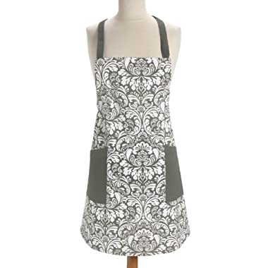DII 100% Cotton, Fashion Printed Damask Unisex Chef Kitchen Apron, Adjustable Neck Strap & Waist Ties, Machine Washable, Front Pockets, Perfect for Cooking, Baking, Barbecuing, & More - Gray