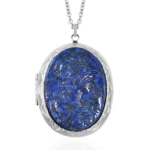 Shop LC Delivering Joy Stainless Steel Oval Cameo Chain Locket Pendant Necklace Jewelry for Women Size 24