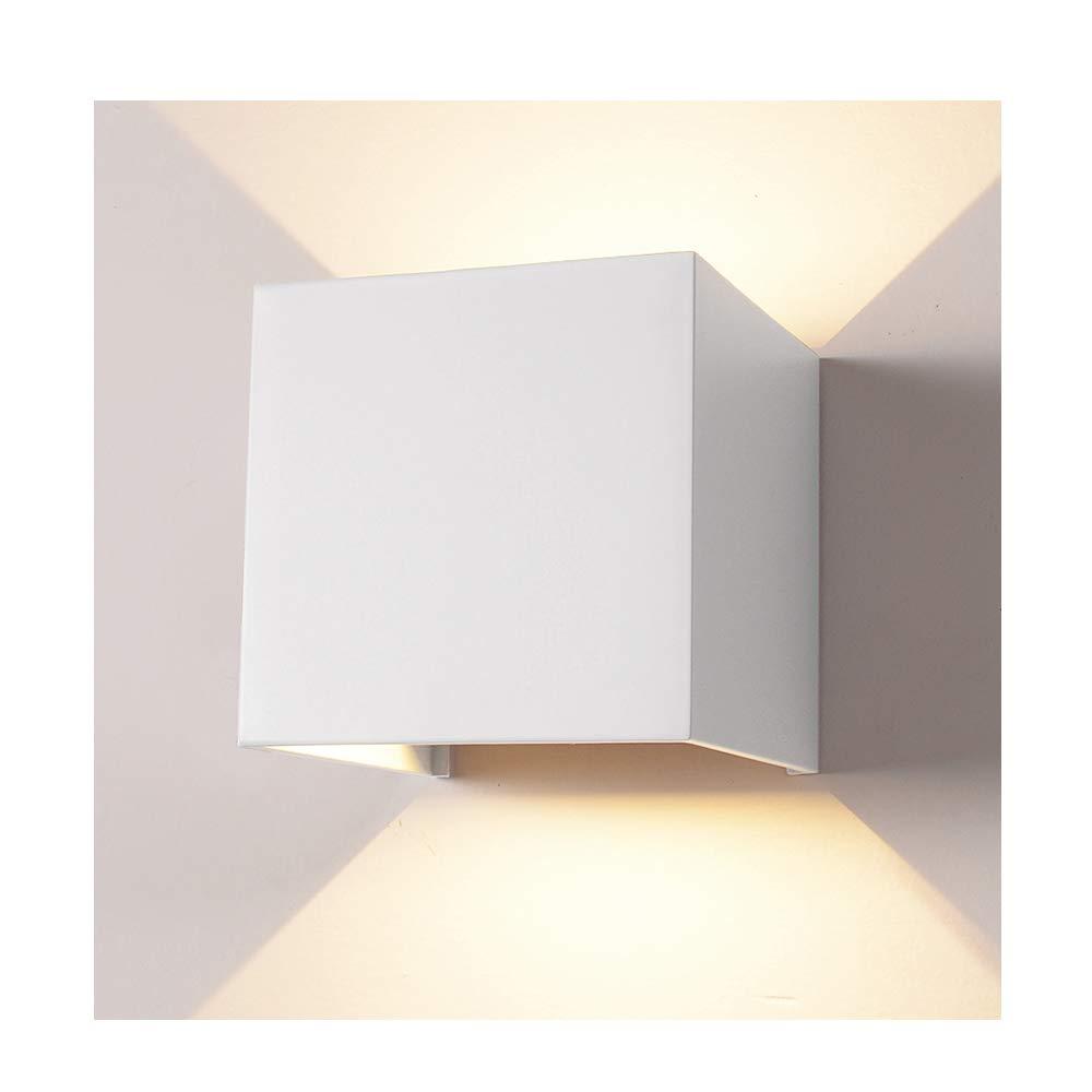 LED Aluminum Waterproof Wall Lamp,12W 85-225V 3200K Adjustable Outdoor Wall Light Warm Light 3.94''(White-Warm Light)