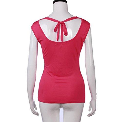 IMJONO Mujeres sin mangas cuello de cuello Seda Drape Low Cut Back Tie Jersey Parte Tops Rojo