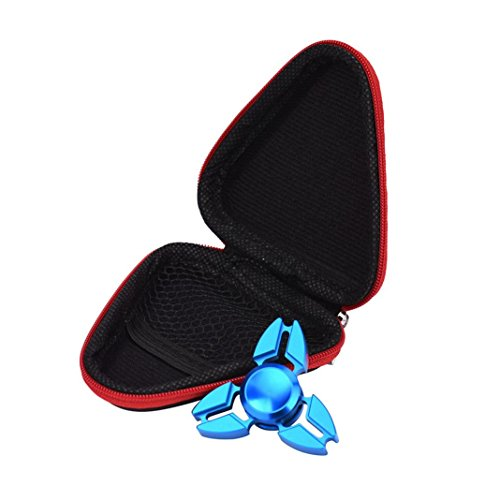 Creazy Gift For Fidget Hand Spinner Triangle Finger Toy Focus ADHD Autism Bag Box Case (Red) - 5