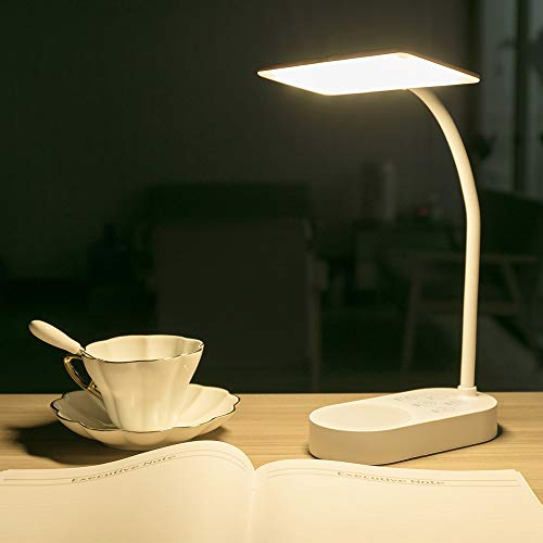 Lampe de Bureau Sans fil Rechargeable USB 40 LED 2 piles 3200mah , Tactile Lumière 3 Couleurs 6 Mode Dimmable, Fonction de Mémoire, Lampe Table Lecture Enfant Chambre Chevet Salon