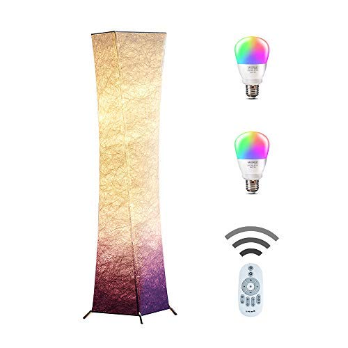 CHIPHY Floor Lamp, Standing Lamp, Color Changing and dimmble Smart RGB with Remote Control and Purple White Fabric Shade, Modern Lighting for Living Room and Bedroom(10