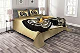 Lunarable Motorcycle Bedspread Set Queen Size, Iron Custom Aesthetic Hobby Motorbike Futuristic Modern Mirrors Riding Theme, Decorative Quilted 3 Piece Coverlet Set with 2 Pillow Shams, Yellow Silver