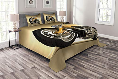 Lunarable Motorcycle Bedspread Set Queen Size, Iron Custom Aesthetic Hobby Motorbike Futuristic Modern Mirrors Riding Theme, Decorative Quilted 3 Piece Coverlet Set with 2 Pillow Shams, Yellow Silver by Lunarable