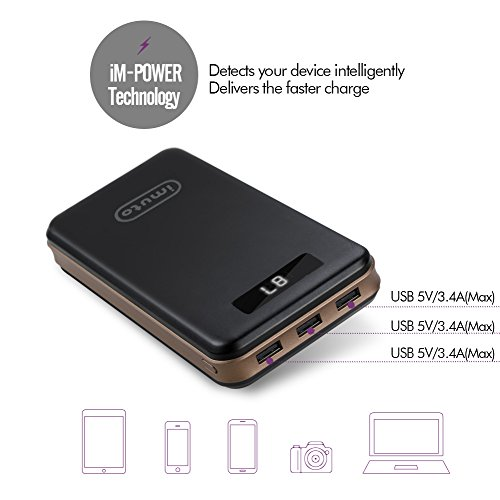 iMuto 30000mAh electrica Bank convenient Charger External Battery Pack together with 3 Port USB OutputMax 34A per Port super substantial Capacity go Charger for Nintendo SwitchiPhone X 10 8 7 6 Plus Samsung Galaxy S8 Note 8Tablets and Mroe Upgraded Version External Battery Packs