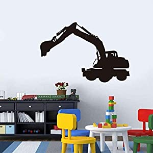 Wall Art, Hot Sale Cartoon Large Black Digger Digging Wrecking Interesting Design Stickers Removable Print Wall Pictures Poster Modern Home Wallpaper