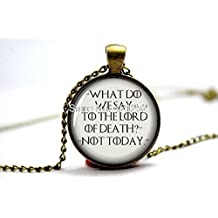 Pretty Lee 2015 Fashion Game Of Thrones Necklace 'What Do We Say To The Lord Of Death? Not Today' Arya Stark Quote Pendant Necklace Christmas gift