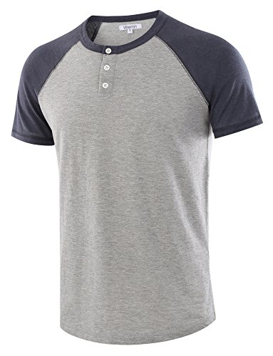 Vetemin Men's Casual Short Sleeve Raglan Henley T-Shirts Baseball Shirts Tee H.Gray/C.Blue XL