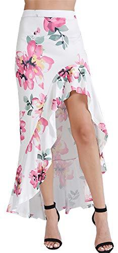Taille Haute Asymtrique Ourlet Volant Volante  Volants Ourlet Plongeant Ourlet Irrgulier Florale  Fleurs Long Longue Maxi Bodycon Fourreau Moulante Ajuste Jupe Blanc Blanc