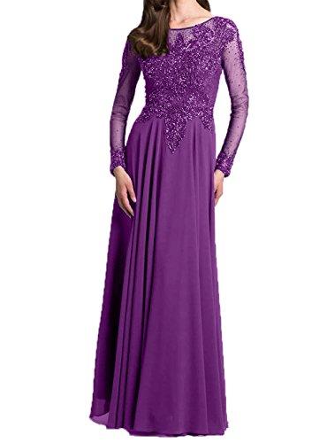 Neu Brautmutter mit 2018 Abendkleider Elegant Violett Promkleider Partykleider Langarm Ballkleider Damen Charmant 8UxOqBw