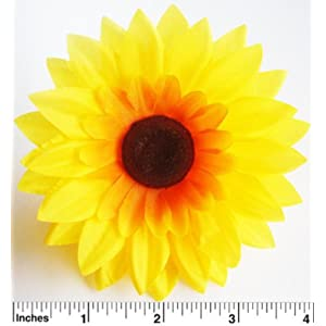 "(100) Silk Yellow Sunflowers sun Flower Heads , Gerber Daisies - 3.5"" - Artificial Flowers Heads Fabric Floral Supplies Wholesale Lot for Wedding Flowers Accessories Make Bridal Hair Clips Headbands Dress 66"